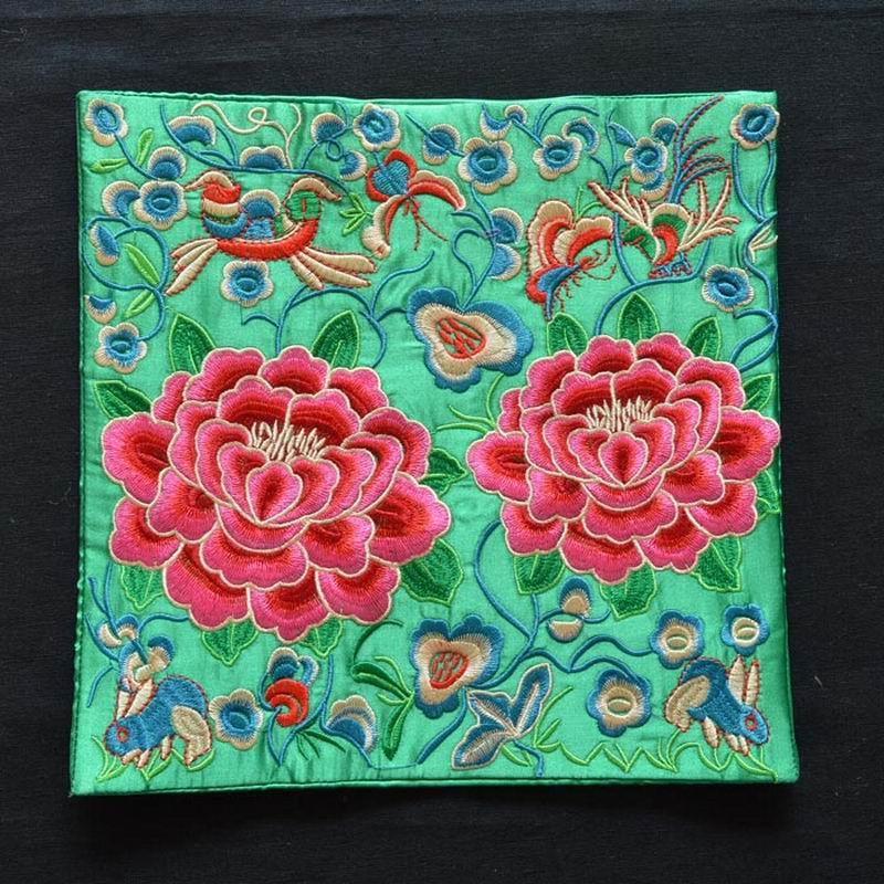 Народная Стиль ручной вышивки ткань Pad пион Цветочная вышивка длиной 25 см