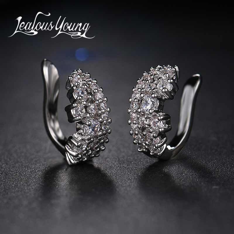 Mode 1ct Cubic Zirconia Anting Klip Pernikahan Anniversary Perhiasan Untuk Wanita Mode Party Hadiah Brincos Boucle D'oreille AE323