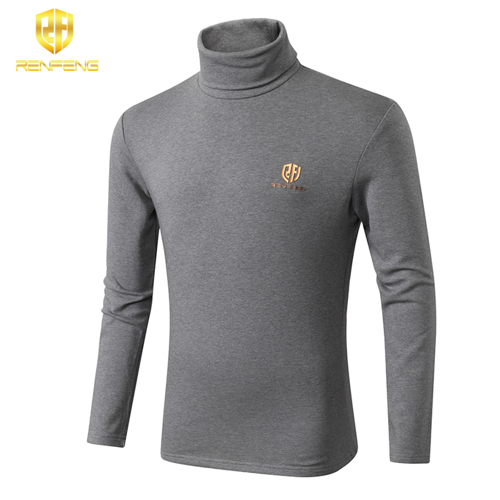 winter underwear for mens undershirts 95% cotton long sleeve brand t shirts turtleneck Warm shirt renfeng logo thermo shirt mens (4)