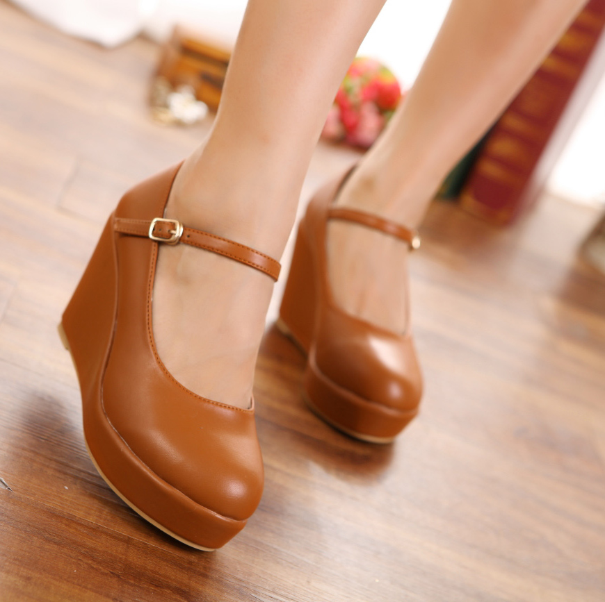 Mary Janes High High Wedges Pu Round Toe Casual Buckle Strap Summer Fashion Shoes Women
