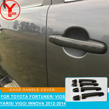 цена 2012-2014 door handle cover For Toyota SUV FORTUNER SW4 2012 2013 2014 carbon ABS car decoration accessories For Fortuner YCSUNZ