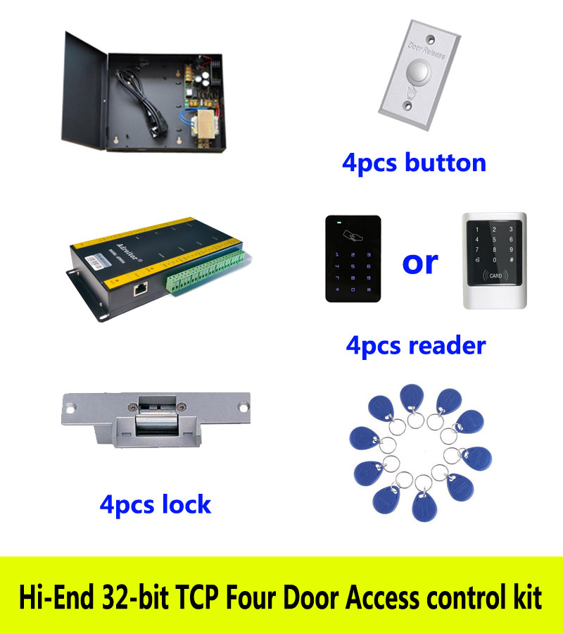 Hi-end 32-bit access control kit,TCP/ip four door +powercase+strike lock +ID touch keypad reader+button+10 ID tags,sn:kit-AT401