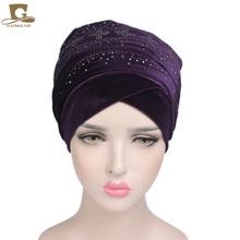 New Luxury Diamante Studded Nigerian Velvet Extra Long Turban Head Wrap Head Scarf Headwrap Women Hijab Ladies Bandanas Turbante