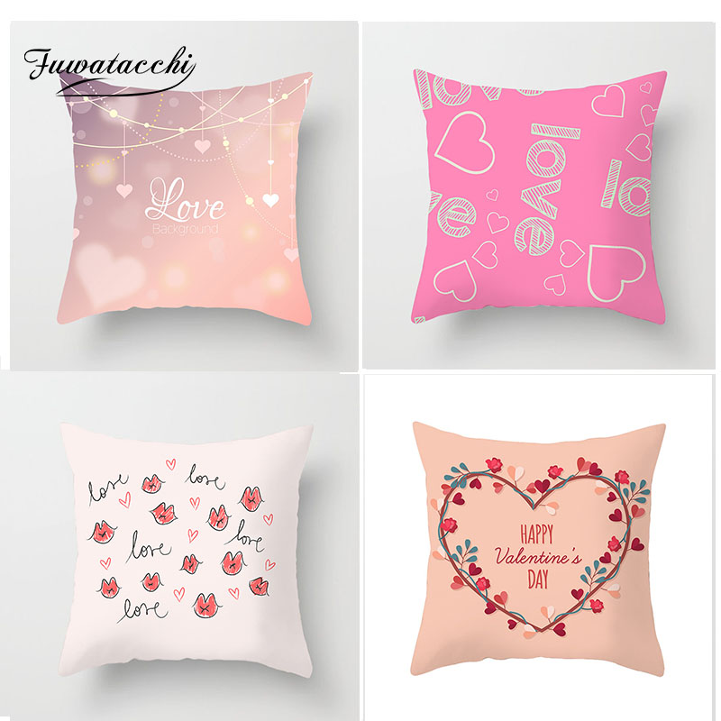 Fuwatacchi Love Kiss Shape Cushion Cover Heart Rose Letter Pillow Case Sofa Home Decorative Wedding Decoration Pillowcases