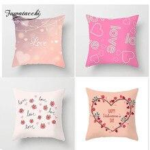 Fuwatacchi Love Kiss Shape Cushion Cover Heart Rose Letter Pillow Case Sofa Home Decorative Wedding Decoration Pillowcases