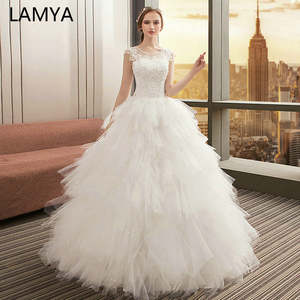 LAMYA Wedding-Dresses Bridal-Gown Bohemian White Lace-Up Neck-Appliques Long Tutu Vestido-De-Noiva