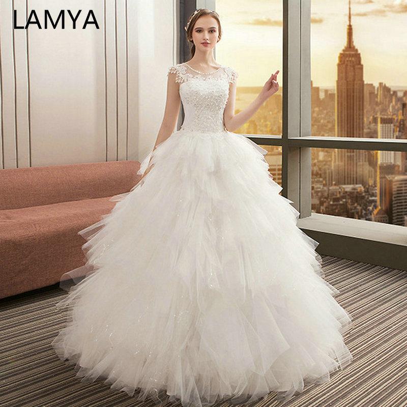 TuTu Wedding Dresses O Neck Appliques Bridal Gown Bohemian Long Lace Up Vestido De Noiva white wedding dress long sleeve