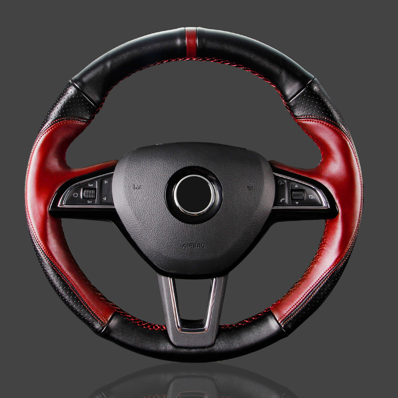 BLACK LEATHER Steering Wheel Cover 100/% Leather fits CHRYSLER