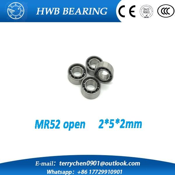 Free Shipping 10 PCS Open Type MR52 Bearings 2x5x2 mm Miniature Ball Bearings L-520W02 mr522z  free shipping 10 pcs 684zz 684z 684 bearings 4x9x4 mm miniature ball bearings l 940zz abec5