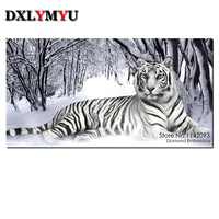 Needlework DIY 5D Resin Diamond Painting Cross Stitch Full Diamond Embroidery Tiger Pattern Rhinestone Pasted Painting