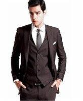 2016 Custom Made Mens' Wedding Tuxedos Groom Dark brown Suits Bridal Blazers Dinner Suit ( jacket+Pants+vest+tie)