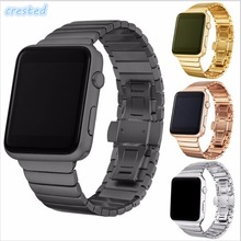 CRESTED Luxury watchband metal straps For Apple watch band 42mm stainless steel Link bracelet 38mm butterfly loop 4 colors