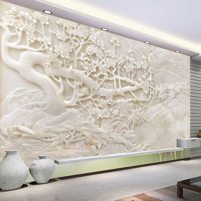 Custom Photo Wallpaper Murals 3D Imitation White Jade Carving Plum Home Interior Decoration Wall Mural Wallpaper For Living Room