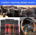 Free shipping Black DIY Genuine Leather Cowhide Car Steering Wheel Cover With Needles and Thread car styling Auto accessories
