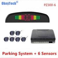 Okey Tech PZ300 6 Universal Buzzer Car Parking Sensor System With 6 Sensors Front 2 Rear