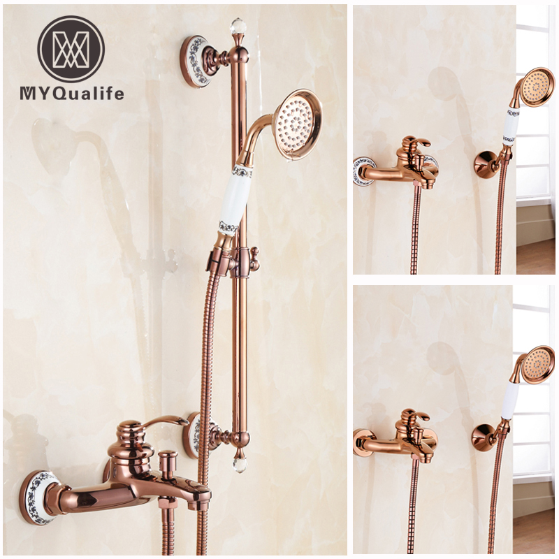 Luxury Rose gold Single Lever Shower Set Faucet Wall Mounted Brass Sliding Bar Bath Shower Mixer Taps wall mounted adjust sliding bar rain hotel shower faucet single lever 10 rain shower head ultra thins style handshower