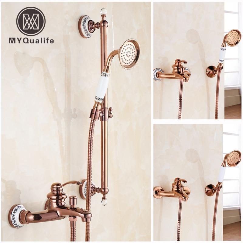 Luxury Rose gold Single Lever Shower Set Faucet Wall Mounted Brass Sliding Bar Bath Shower Mixer Taps