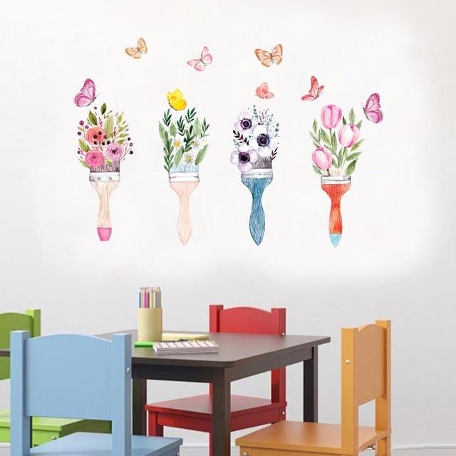creative arts brush vase flowers wall sticker women rooms home decor