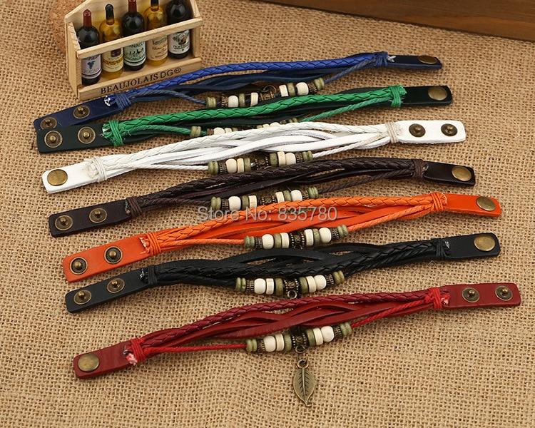 ¡Los hombres pulseras! 84 pulseras de hoja unids/lote pulseras tejidas, pulseras de cuero-in Pulseras de amuleto from Joyería y accesorios    1