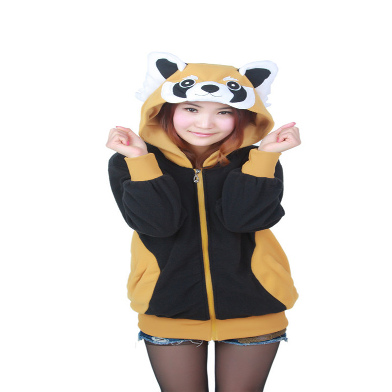 Kawaii Raccoon Unisex Hoodies With Animal Ears Cosplay Cute Red Panda Zipper Hoody Jacket Winter Fleece Tracksuit For Women