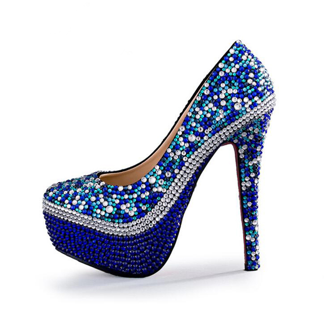 Royal Blue Rhinestone Wedding Shoes Handmade Gorgeous Party Prom ...