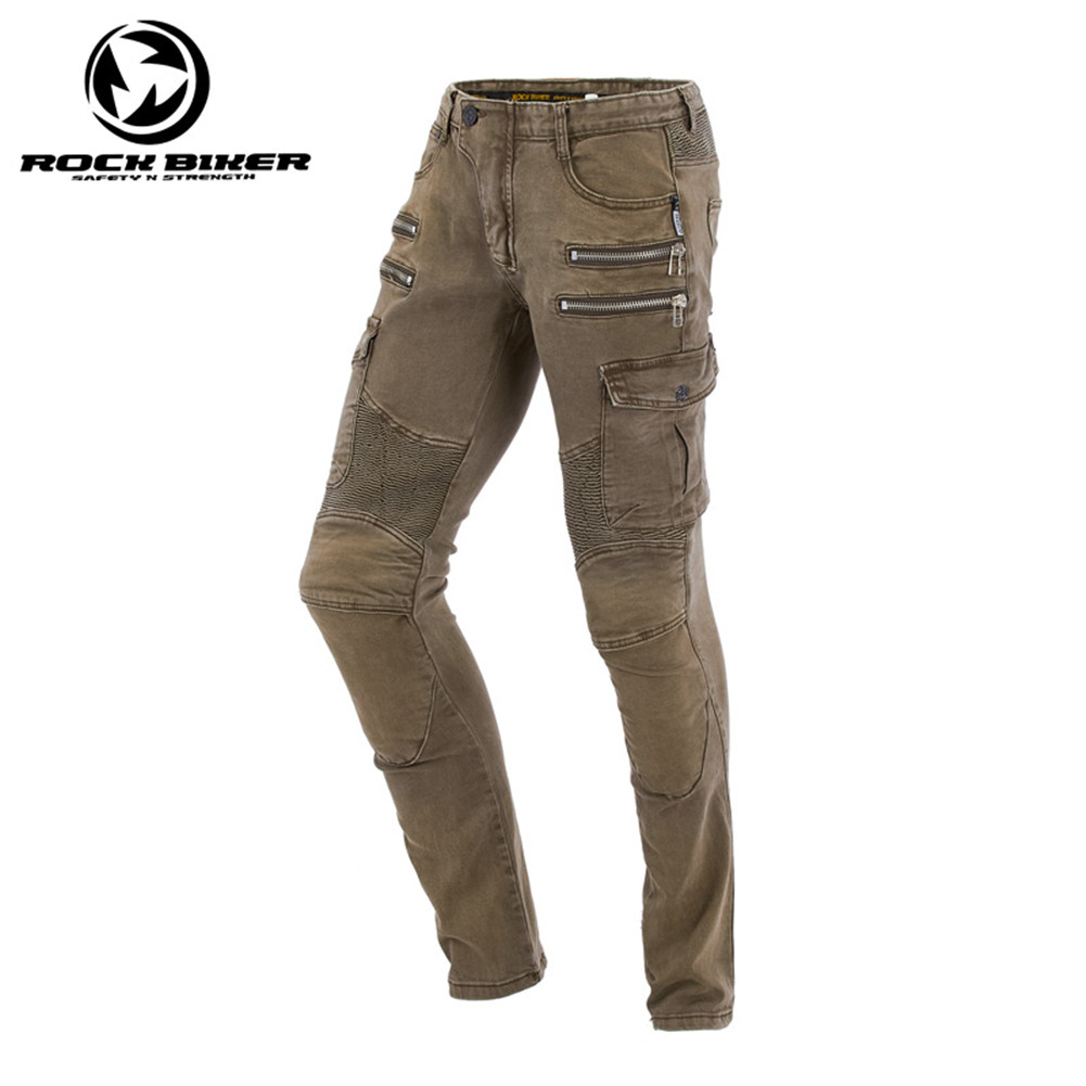 Rock Biker Elastic Skinny Motorcycle Pants Men Motocross Moto Racing Jeans Trousers Harley Retro Protective Gear Pants zip hem skinny distressed biker jeans