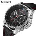 MEGIR спортивные мужские часы Топ бренд класса люкс кварцевые мужские часы модные повседневные Черные ПУ часы на ремешке для мужчин большой ц...