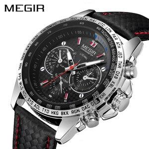 Image 1 - MEGIR ספורט Mens שעונים למעלה מותג יוקרה קוורץ גברים שעון אופנה מזדמן שחור PU רצועת שעון גברים גדול חיוג Erkek saat 1010