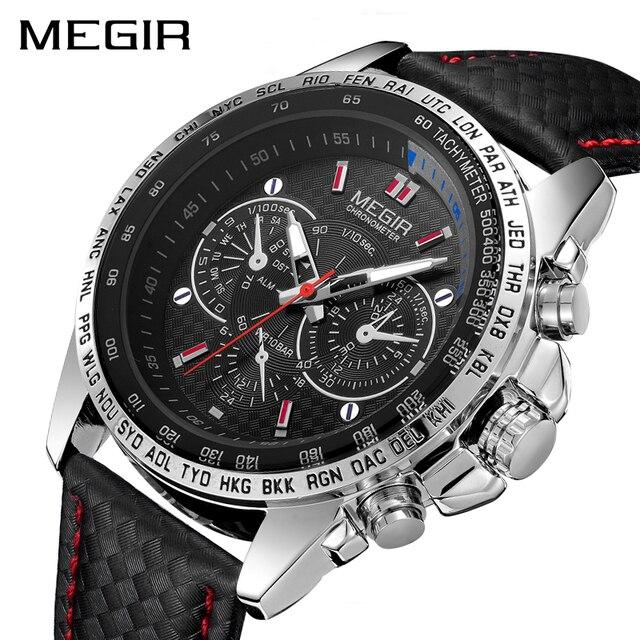 MEGIR ספורט Mens שעונים למעלה מותג יוקרה קוורץ גברים שעון אופנה מזדמן שחור PU רצועת שעון גברים גדול חיוג Erkek saat 1010