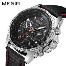 Часы наручные MEGIR Мужские кварцевые, спортивные брендовые Роскошные модные повседневные с черным ремешком из искусственной кожи, с большим циферблатом, 1010