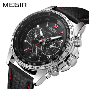 Image 1 - Megir Sport Heren Horloges Top Brand Luxe Quartz Mannen Horloge Mode Toevallige Zwarte Pu Band Klok Mannen Big Dial Erkek saat 1010