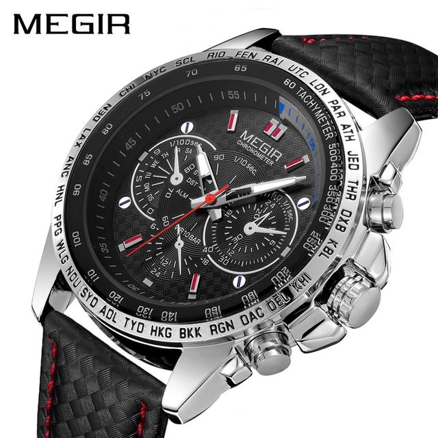 Megir Sport Heren Horloges Top Brand Luxe Quartz Mannen Horloge Mode Toevallige Zwarte Pu Band Klok Mannen Big Dial Erkek saat 1010