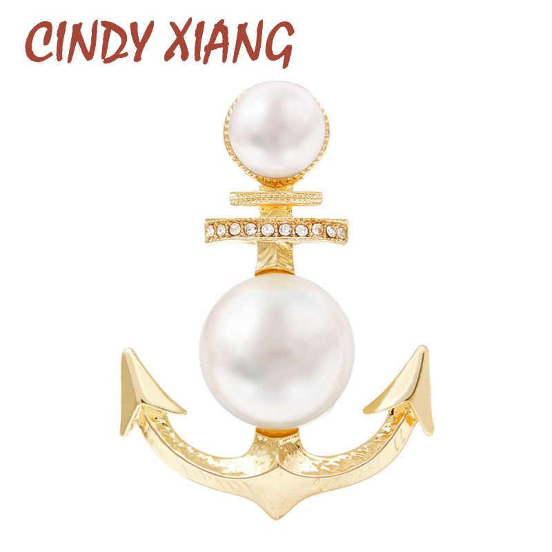 Cindy Xiang Baru Warna Emas Mutiara Jangkar Bros untuk Wanita Desain Kreatif Fashion Pin Mantel Bros Gaya Musim Panas Perhiasan