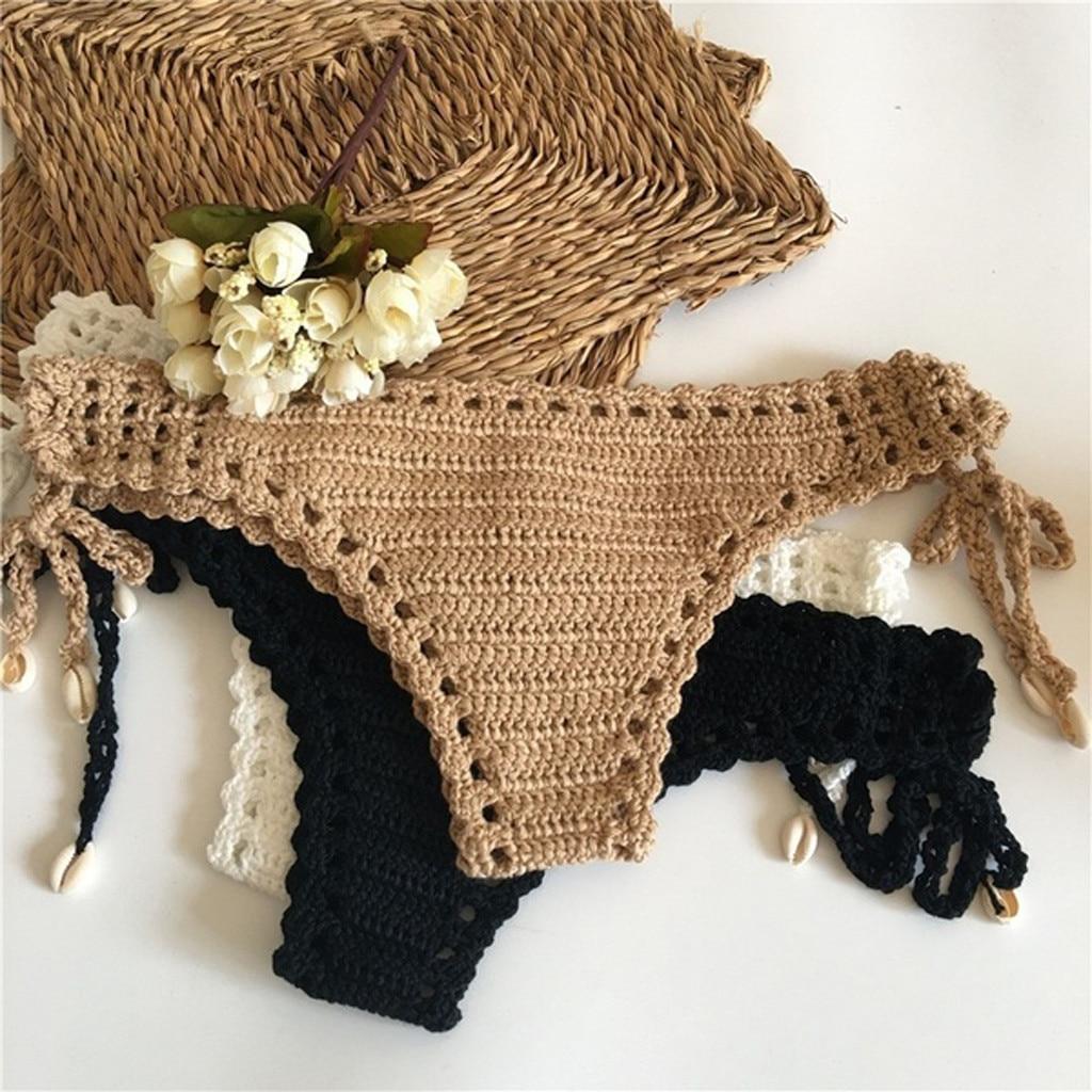 2019 Summer Sexy Solid Crochet Bikini Beach Swimwear Women Tanga Thong Bikini Bottoms Brazilian Biquini Maio Feminino Praia Mayo