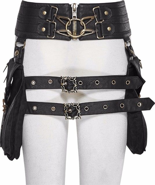 Steampunk Gothic Ladies Double Waist Belt Bag With Two Buckles Black PU Leather Waist Belts Bags With Zipper Back Lace-Up Bags