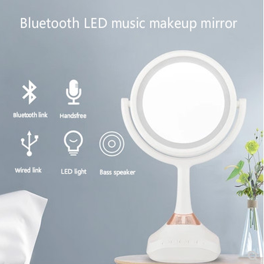 Makeup Mirror Intelligent Bluetooth Audio LED Desk Lamp 1X5X Double Mirror Answering Phone USB Charging Dressing Table Lamp Tool wooden dressing table makeup desk with stool oval rotation mirror 5 drawers white bedroom furniture dropshipping