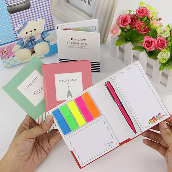 1 PC Creative Hardcover Notepad Sticky Notes Kawaii Stationery Diary Notebook and Pen Office School Supplies 1