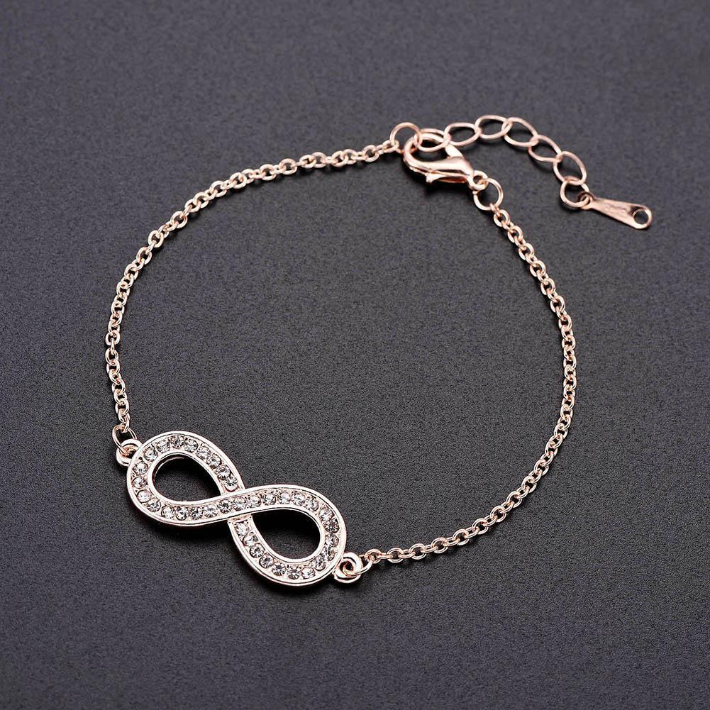 Fashion 8 Shape Rhinestone Women Rose Gold Alloy Bracelet Bangle Jewelry Party Wrist Decor Gift