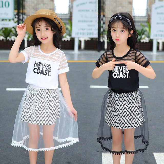 e527dbae279d9 2018 New Children Summer Casual Clothing Set Girls Korean Version Short  Sleeve Clothing Sets Girl Fashion Skirt Suit Set-in Clothing Sets from  Mother ...