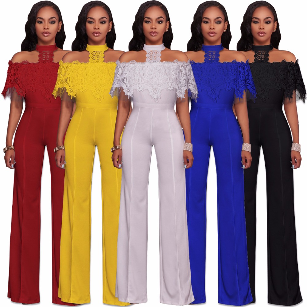 Jumpsuit Sexy low Back Women Spring Summer Jumpsuits 2018 New Ruffle Lace halter Casual Elegant Bodysuit