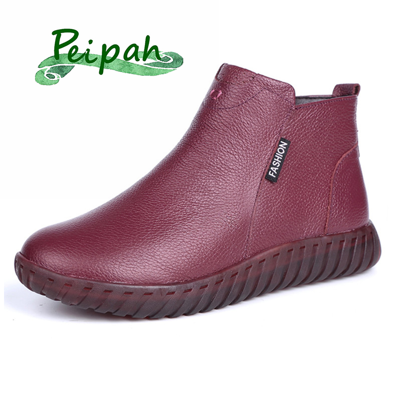 PEIPAH Vintage Handmade Genuine Leather Women Ankle Boots Casual Snow Boots Winter Ladies Flat Shoes Zip Rubber Botines Mujer-in Ankle Boots from Shoes
