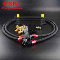 10 Row Motor Oil Cooler w/Termostato 80 Graus Adaptador Do Filtro de Óleo Kit de Prata/Preto