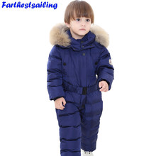 2018 Girls Winter Overalls Rompers Boy Duck Down Jumpsuit Real Fur Collar Children Outerwear Kids Snowsuit Baby Clothes Snowwear(China)