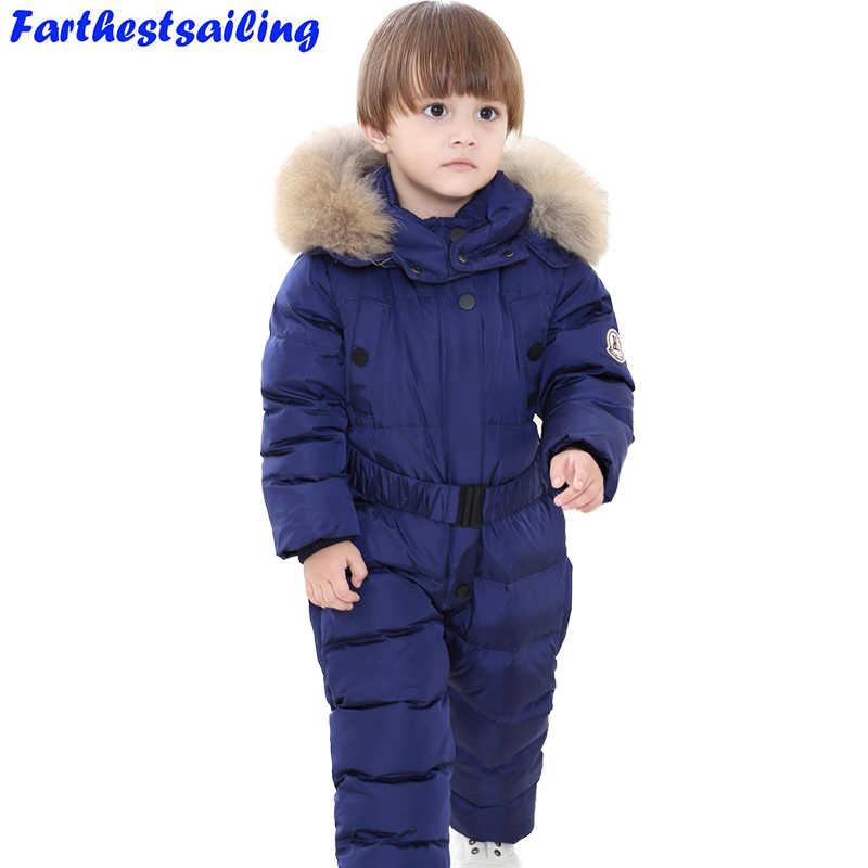 05ef5848aa53 2018 девушки Зимние комбинезоны комбинезон для мальчиков утка вниз  комбинезон натуральной меховой воротник детская верхняя одежда