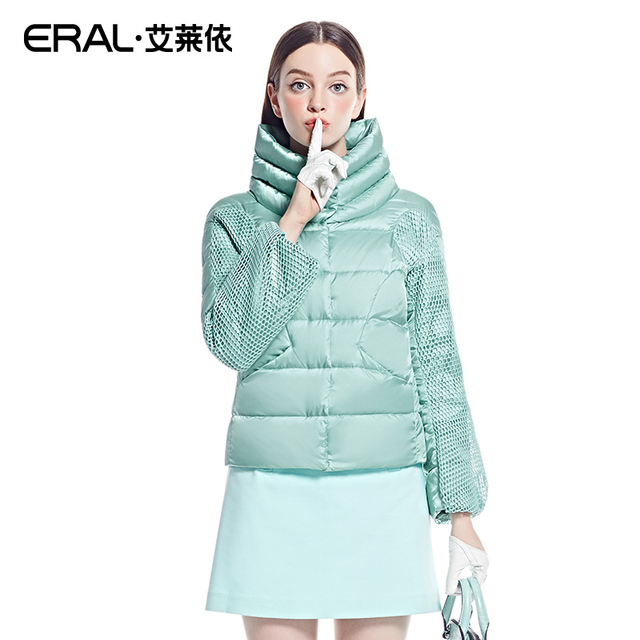 ERAL 2016 New Arrival Winter Women's Stand Collar Mesh Sleeve Thermal Fashion Slim Casual Short Down Jacket Coat ERAL2012D