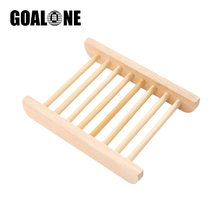 GOALONE Wooden Soap Rack Natural Bamboo Holder Wood Dish Box Container for Bathroom Shower Home Decoration Accessories