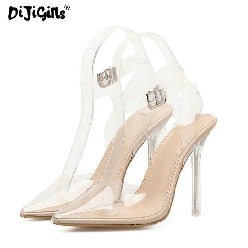 Altos Claro Tacones Mujeres Estrecha Dropship Punta Sandalias Zapatos Vestido Stilettos Pvc De Apricot Slingback Moda Transparente Boda Bombas 8qqFwpH