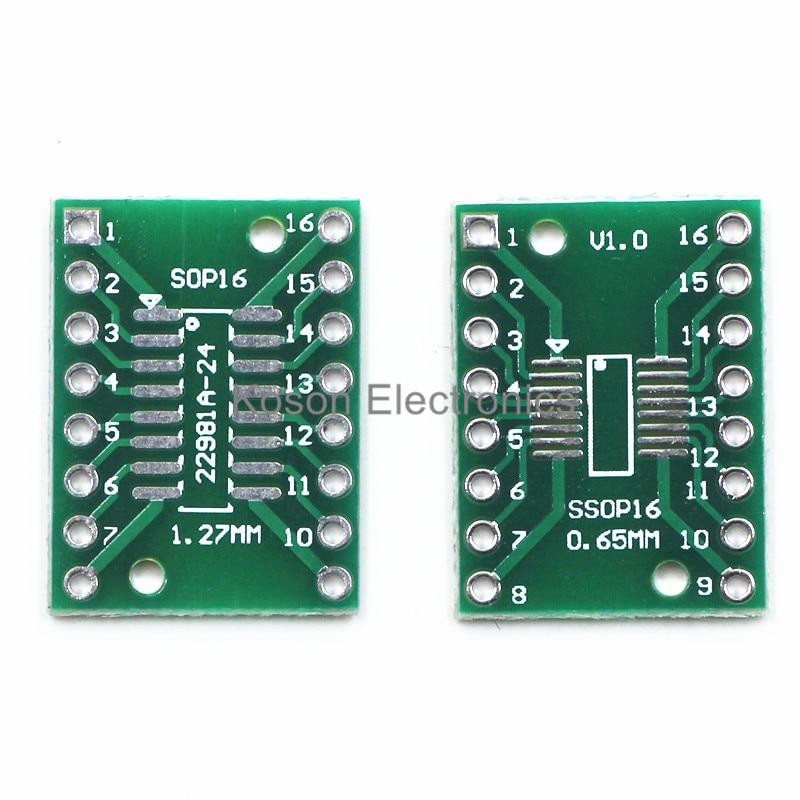 10PCS TSSOP16 SSOP16 SOP16 to DIP16 Transfer Board DIP Pin Board Pitch Adapter NEW