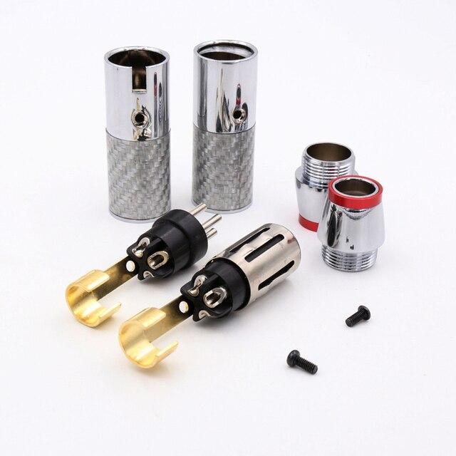 2Sets/4pcs XLR Male Female Connector 3 Pin  Carbon Fiber XLR Microphone Audio Connector Plug