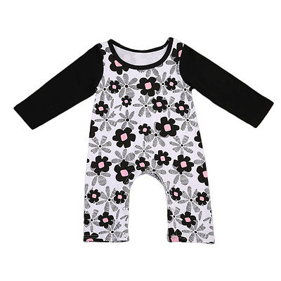 2017 Autumn Newborn Infant Baby Girls Kid Long Sleeve Cotton Romper Floral Jumpsuit Playsuit Clothes Outfits Cute One-Piece